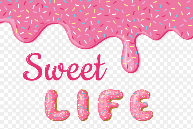 Banner with donuts pink glaze and text on transparent background PNG