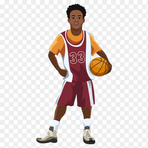 Basketball player in uniform with ball in hand isolated on transparent background PNG