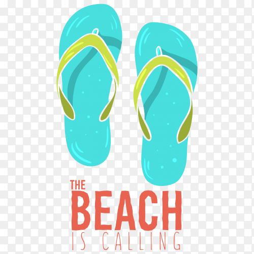 Beach summer poster design with flip flops slippers on transparent background PNG
