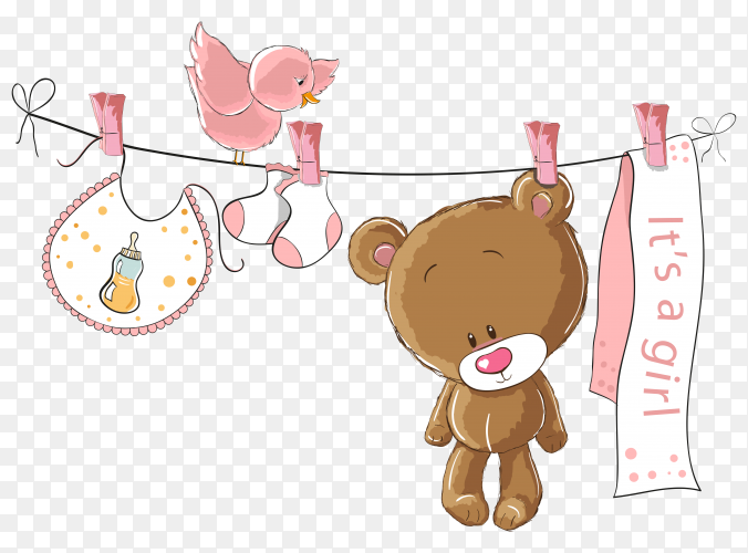 Bear and clothes hanging on rope illustration on transparent background PNG