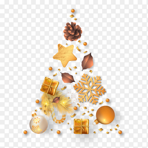 Beautiful Christmas tree with golden decoration on transparent background PNG