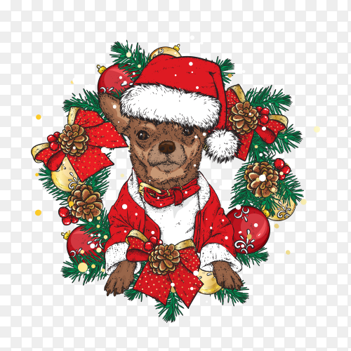 Beautiful dog in a christmas wreath on transparent background PNG