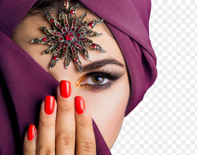 Beautiful fashion east woman on transparent background PNG