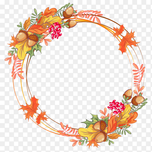 Beautiful frame of intersecting rings with autumn leaves premium vector PNG