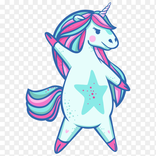 Beautiful ight blue dancing unicorn superstar on transparent background PNG
