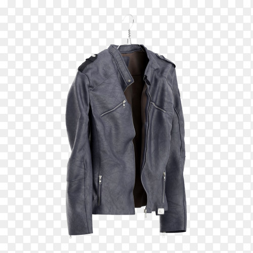 Beautiful leather jacket on transparent background PNG