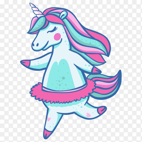 Beautiful light blue unicorn in a ballet skirt with closed eyes on transparent background PNG
