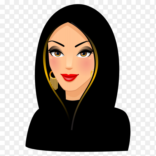 Beauty Arabic woman in hijab premium vector PNG