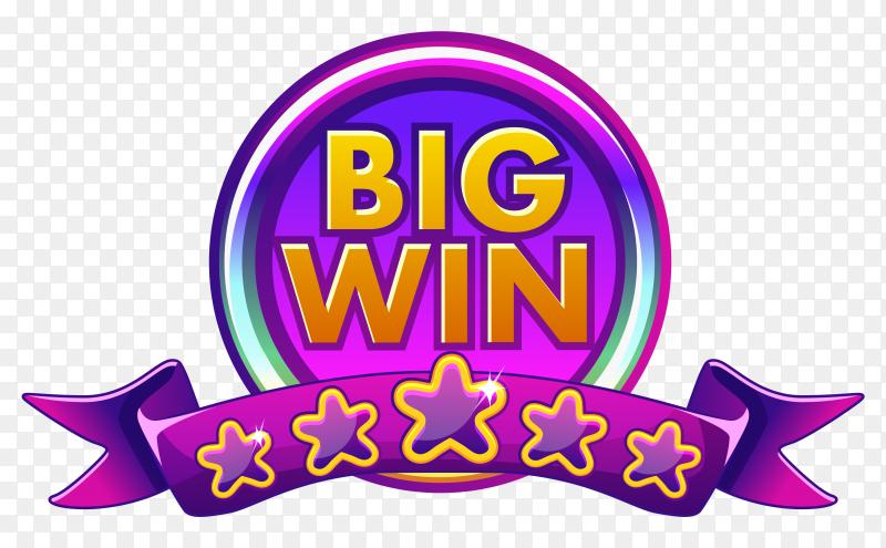 Big win banner Design on transparent background PNG