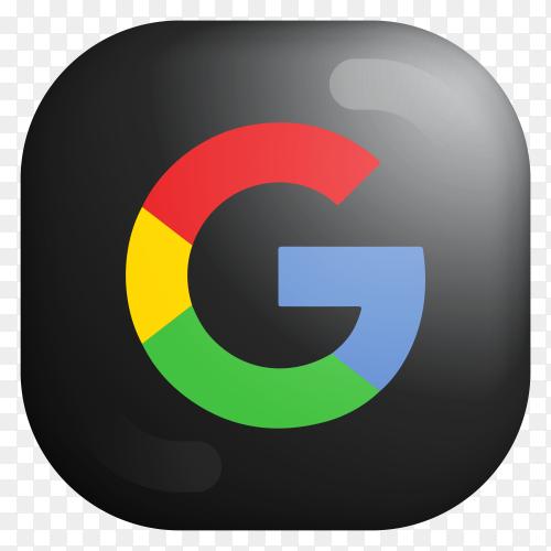 Black Google modern 3D icon on transparent PNG