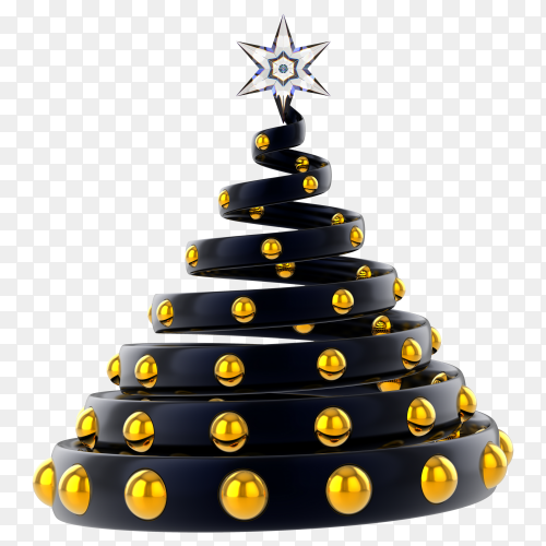 Black christmas tree decorated with golden ball and crystal stars on transparent background PNG