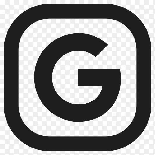Black google icon design on transparent PNG