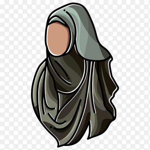 Black hijab fashion muslim woman premium vector PNG