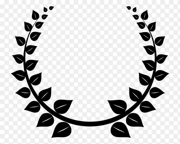 Black leaves laurel wreath premium vector PNG