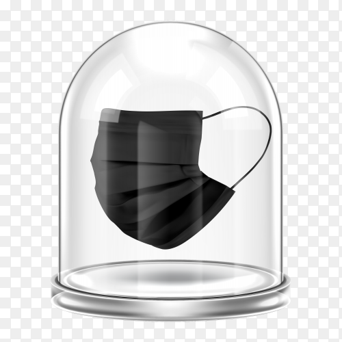 Black medical mask under glass dome on transparent background PNG