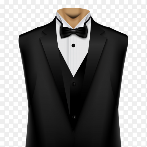 Black suit with bow and white shirt on transparent PNG