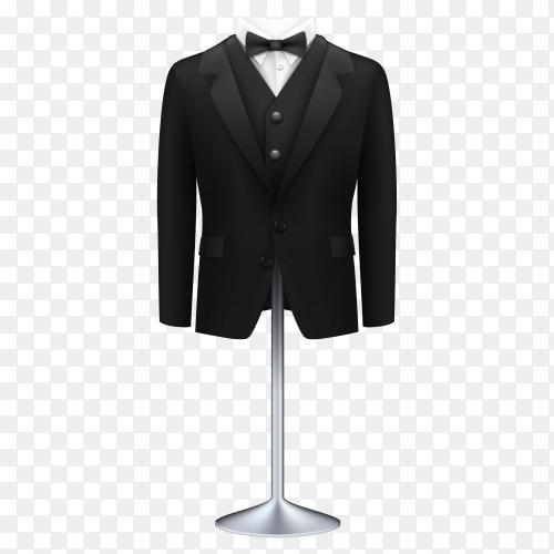 Black wedding suit on transparent background PNG