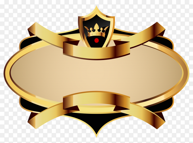 Blank Golden shiny label and badge on transparent background PNG