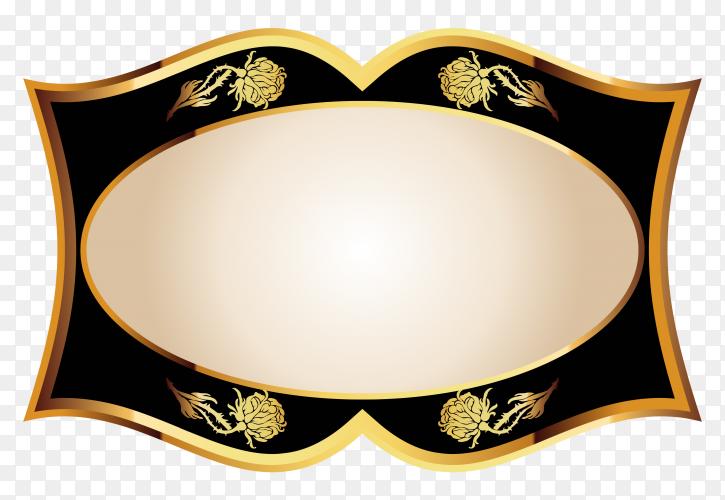 Blank black shiny label on transparent background PNG