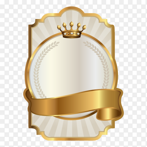 Blank golden shiny label and badge premium vector PNG