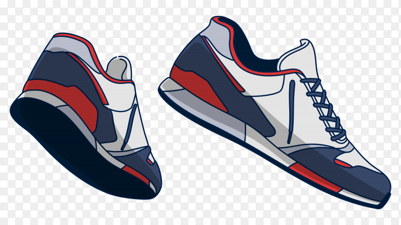 Blue ,red and white sneakers on transparent PNG