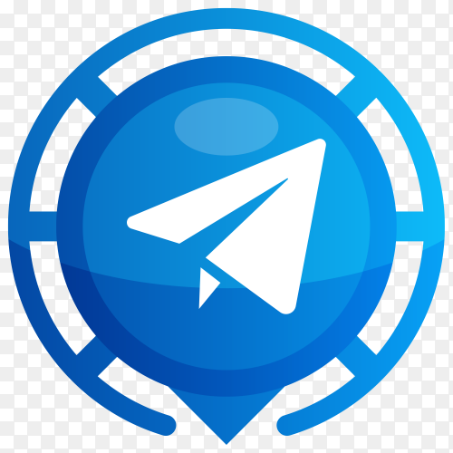 Blue Telegram logo on transparent PNG