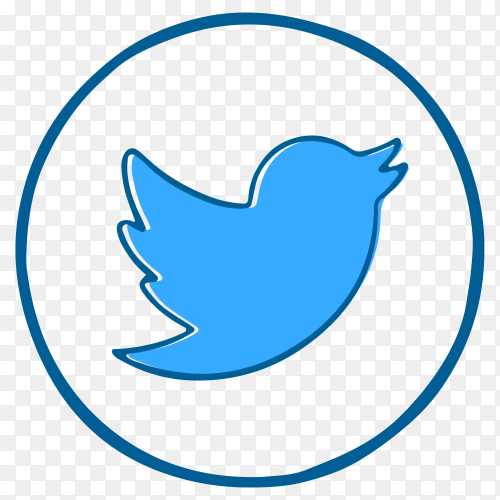 Blue Twitter logo design on transparent PNG