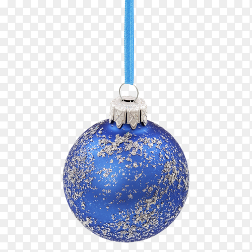 Blue Christmas ball with silver sparkly  on transparent background PNG