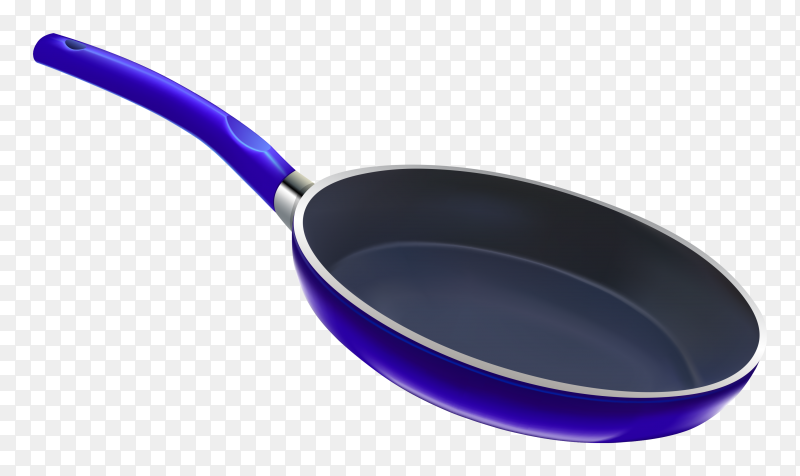 Blue frying pan on transparent background PNG
