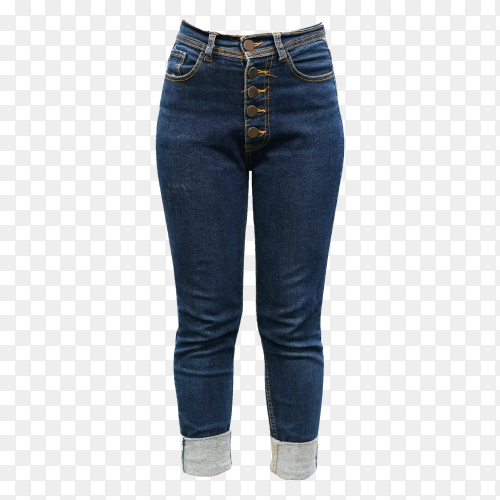 Blue jeans for women on transparent background PNG