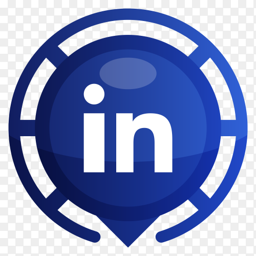 Blue linkedin logo on transparent background PNG