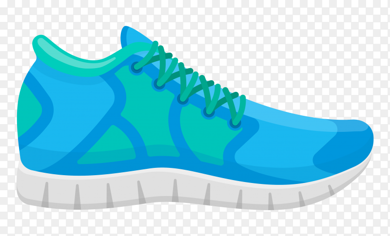Blue running shoes isolated. sport sneakers illustration premium vector PNG