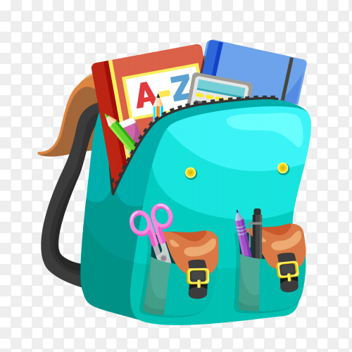 Blue school backpack with essential supplies on transparent background PNG