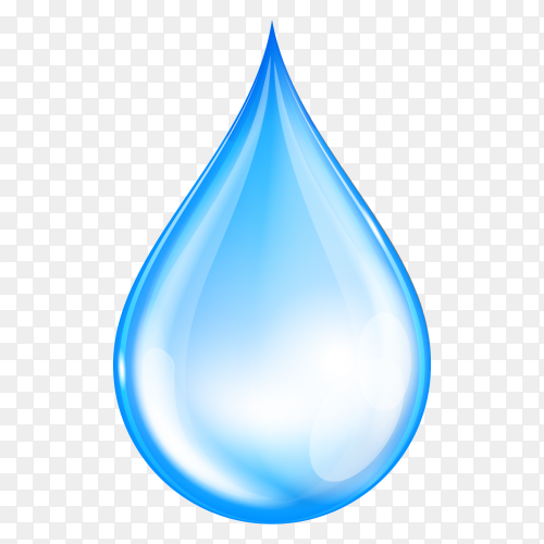 Blue shiny water drop on transparent background PNG