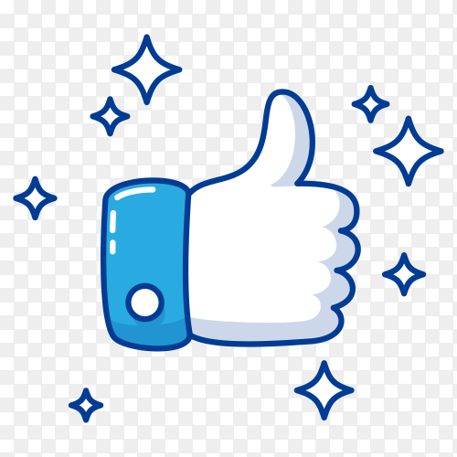 Blue thumb up like on transparent background PNG