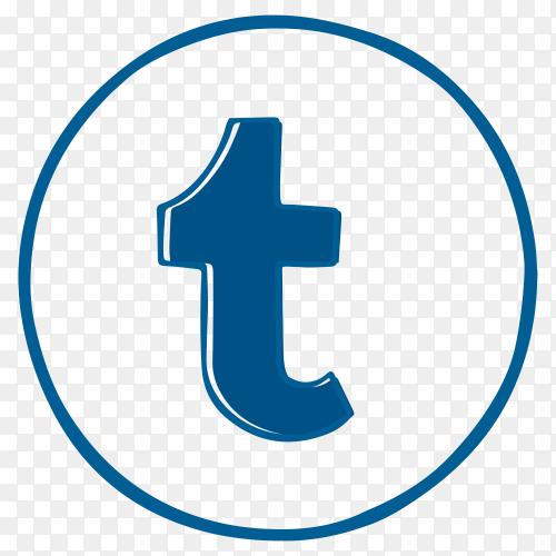 Blue tumblr logo design on transparent PNG
