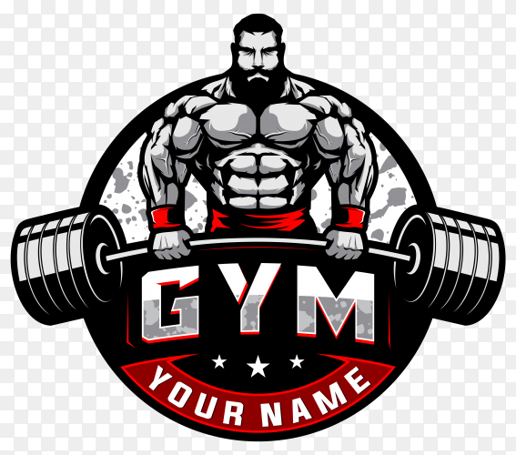 Bodybuilding and gym logo on transparent background PNG