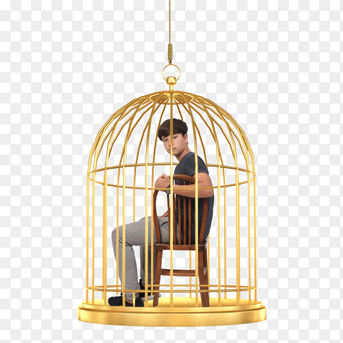 Boy teen in golden cage on transparent PNG