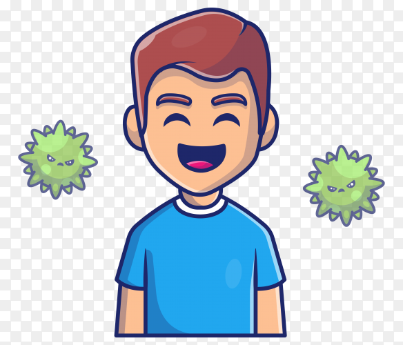 Boy with virus strong immunity icon on transparent background PNG
