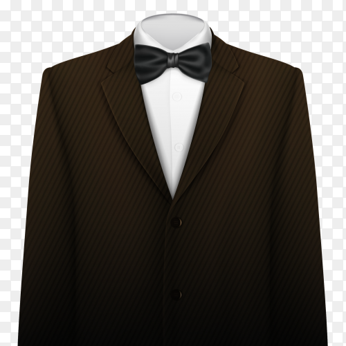 Brown suit with bow on transparent background PNG