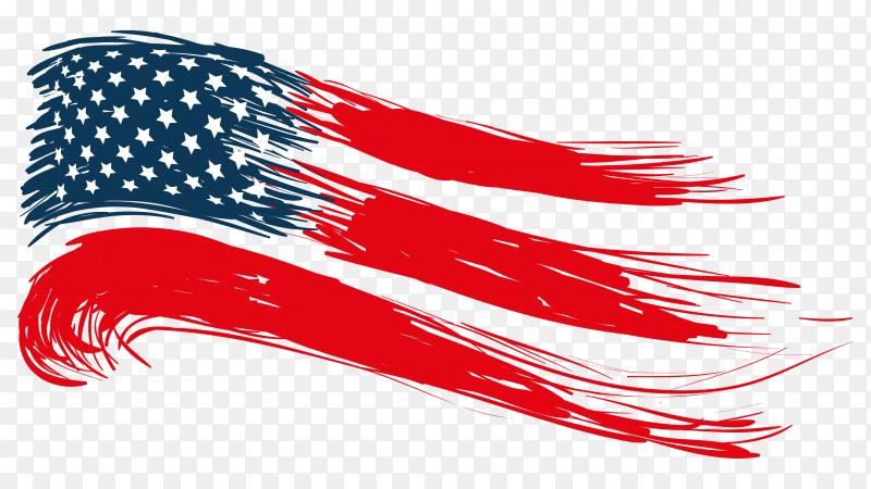 Brush stroke American flag on transparent background PNG