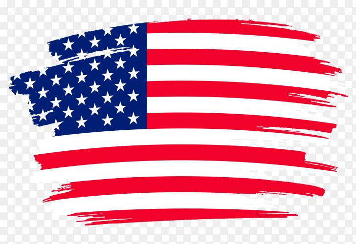 Brush stroke USA flag on transparent background PNG