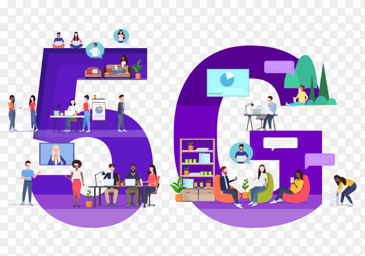Business People using digital gadgets 5g online wireless system to connection social media on transparent background PNG