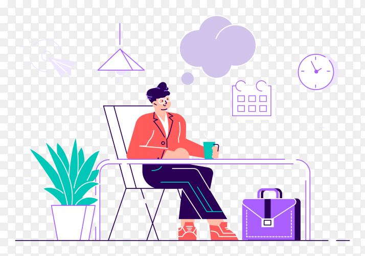 Business man is relaxing and dreaming about something at his work place on transparent background PNG