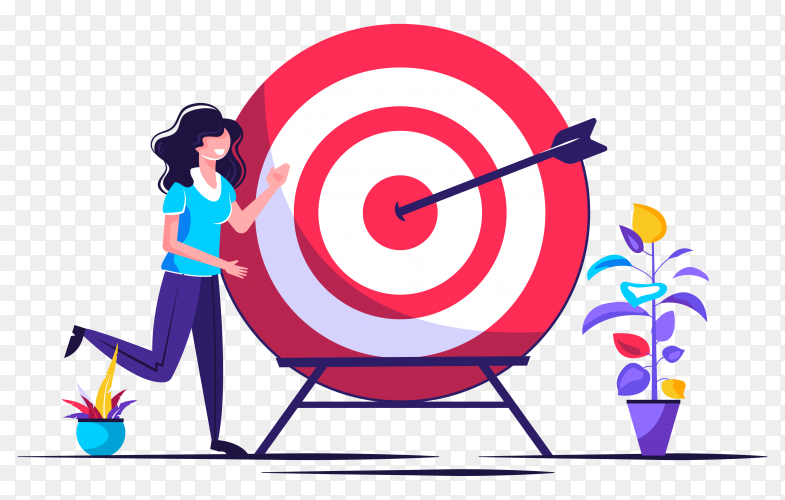Business vision, big target with woman, teamwork on transparent PNG
