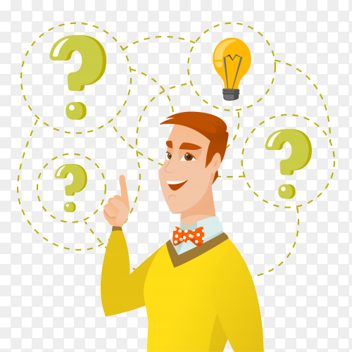 Businessman having business idea illustration on transparent background PNG
