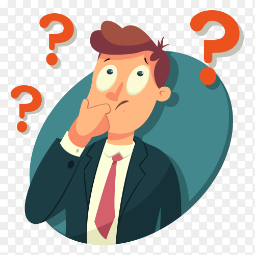 Businessman is confusing on transparent background PNG