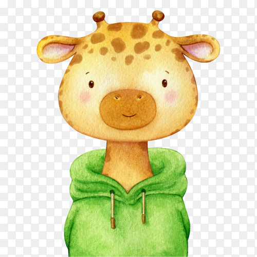 Cartoon Giraffe kid dressed in a green sweater on transparent background PNG