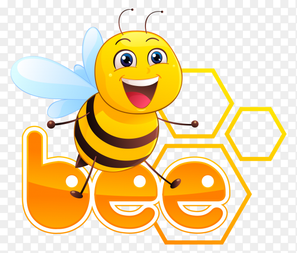 Cartoon bee illustration on transparent background PNG