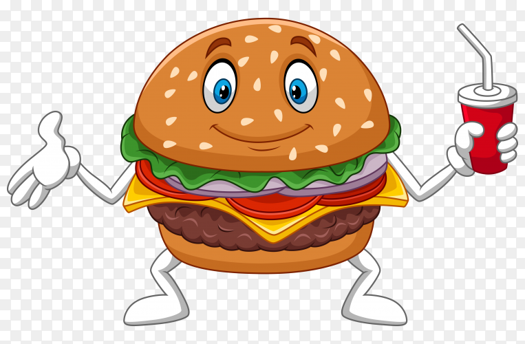 Cartoon burger holding a cup of soda on transparent background PNG